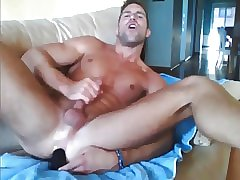Muscular Man play with new Dildo