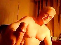 Old grandpa masturbating another men's cock