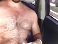 Bear daddy driving cumshot