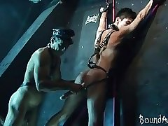 Young bound hunk works his sorry mouth and butt