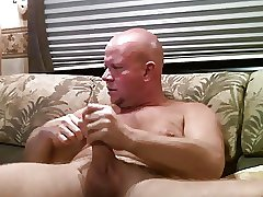 Amazing daddy bear wanking hard