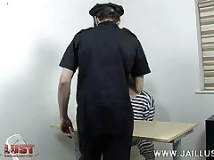 Uniformed oldie feeds his meat to a young criminal