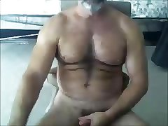 Hairy bear wanking
