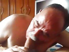 moustache daddy sucking big cock