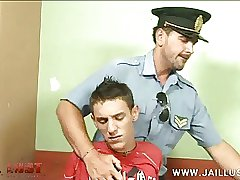 Cute boy taken into custody by an older gay cop