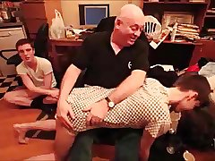 Dad Old man Grandpa Spanking young men