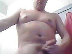 Stocky daddy stroking