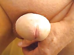 Grandpa Age 67 Smooth Furious Wanking Uncut Cock
