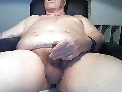 Grandpa 72 wanking uncut cock