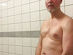 Horny and naughty in the gym showers so I played until cum!