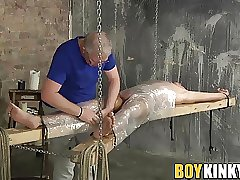 Horny Justin getting his big cock milked by master