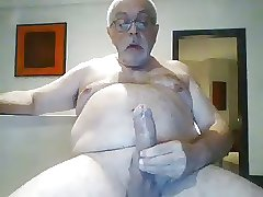 Horny Daddy with huge cock stroking and shoots on cam