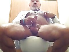 Handsome dad cums