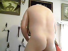 Beefy married guy with pince albert and thong