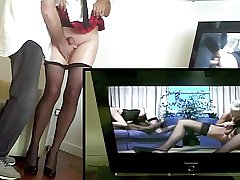 Crossdresser pantyhose cum