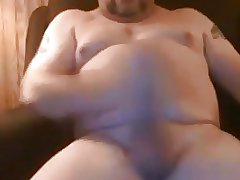 Stocky daddy jerking off