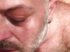 Hairy daddy eat cum