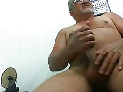 Hot smooth daddy jerking off