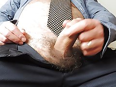 Mature Hairy Wanking & Cumshot at Work