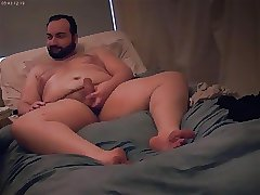 Bear Chub Lotions Body and Cums on Webcam