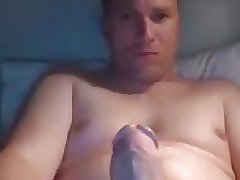 Daddy stroking his very fat cock