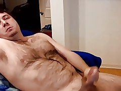 Hairy daddy stroking and cumming