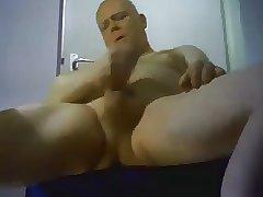 Handsome daddy bald wanking