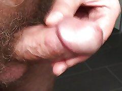 small cock - erection and cum closeup