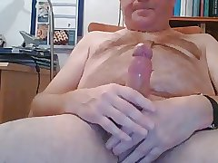 Hot daddy bear stroking hard