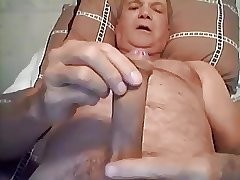Granddad stroking and cumming