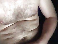 Chubby Hairy British Man Wanking