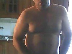 Sexy daddy wanking in kitchen