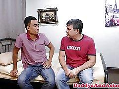 Top daddy cumsprayed by asian bottom twink
