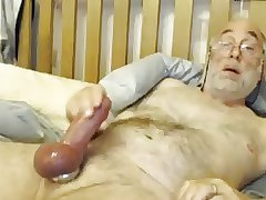 Bi Grandpa Plays With His Big Cock