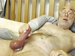 Bi Grandpa Plays With His Big Cock