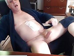Horny Grandpa Wanking His Big Hard Cock