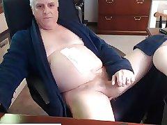 Horny Grandpa Wanking His Big Hard Cock