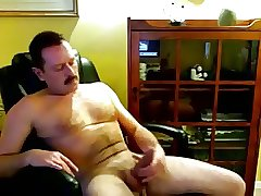 Daddy playing with his cock