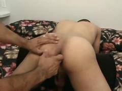 Aroused gay hunks masturbating in the bedroom together