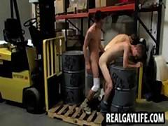 Three hunks fucking and jerking in a warehouse