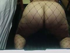 fat ass in fishnet stockings
