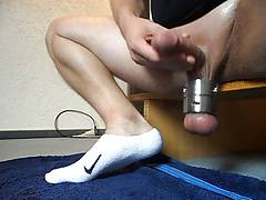 Wanking with ringed balls
