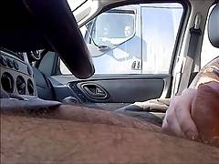 Trucker Flashing 11 - Caught wanking by truckers