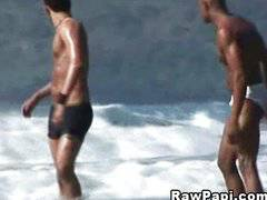 Two hot Latinos in a bareback trip to the beach