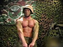 Mucular soldier in combat gear