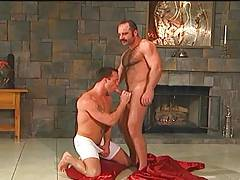 Moustache and hairy daddy fucks muscle boy