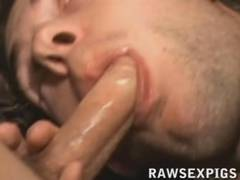 Hot muscular black hunk whips out his huge monster cock in bed and starts beating off  He works the long thick cock hard till it blows his creamy load. Watch it all at rawsexpigs com for all your raw bareback and raunchy xxx gay movies