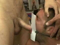 Brave hunks take turns fucking his colleague and he stroking big dicks them in the store