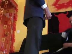 Suit wearing french hunk fucks ass hard after blowjobs