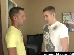 Gay hunk pornstar muscle man Mason Wyler sucks on hard dick